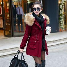 Winter Womens Parka Casual Outwear Military Hooded Coat Winter Jacket Women Fur Coats Woman Clothes manteau femme