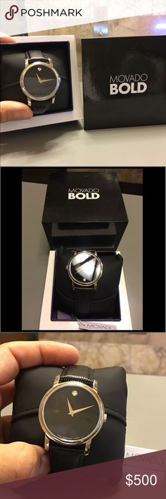 Movado Bold 💯 Authentic Brand-new watch..this sophisticated glamorous luxury high fashion expensive watch has no scratches cus it's new ..comes with tags and in its original protection case .. perfect gift for Father's Day or any special occasion..will ship asap.. Movado Accessories Watches