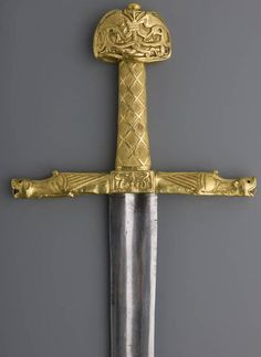 """Joyeuse ('joyful'), a sword that is said to have part of Charlemagne's sword in it, kept at the Louvre. """"The Louvre's official website dates the pommel to the 10th to 11th centuries, the cross to the second half of the 12th, and the grip to the 13th century"""" (Wikipedia)"""