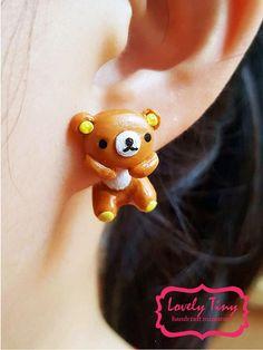 Kawaii Earring Little Bear Earrings Stud Polymer Clay