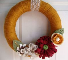 Items similar to Yarn Wreath Sienna 12 inch with Felt Flowers on Etsy Fall Yarn Wreaths, Mesh Ribbon Wreaths, Christmas Mesh Wreaths, Flower Wreaths, Winter Wreaths, Burlap Wreaths, Prim Christmas, Spring Wreaths, Summer Wreath