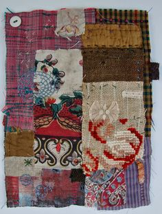 Thread and Thrift, these very small quilts by fabric artist Mandy Pattullo of the UK are works of art.