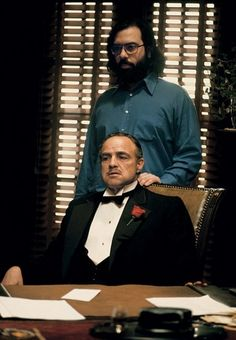 "Bastidores ""The Godfather"" - Francis Coppola (roteirista e diretor) e Marlon Brando (Don Vito Corleone)"