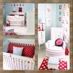 aqua & red nursery for my future little girl