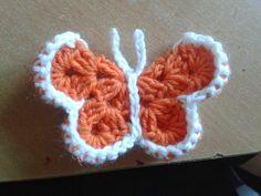 Virkattu perhonen, perhonen, ohje virkatttuun perhoseen, virkkaus, virkattu koriste, virkatun perhosen ohje