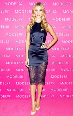 Show off some leg with a super short satin dress like Rosie Huntington-Whiteley