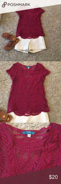 Pink lace top This fun top is ready for summer Beautiful sheer lace top. Shoulder to hem is 25 inches long . Laying flat the best is 18 inches across. No signs of wear that I can see buttons Tops Blouses