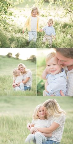 Sunny family photo ideas | Lifestyle family pictures of parents with two children | Cute siblings with mom and dad in a field