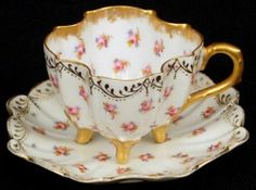 Darling Limoges Footed Demitasse Cup & Saucer