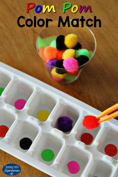 This Pom Pom Color Match Game is a fun and hands-on way for young children to learn about colors and develop fine motor skills.