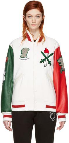 OPENING CEREMONY White Italy Global Varsity Jacket. #openingceremony #cloth #jacket