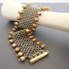 Victorian Lace Pearl Carmel Beaded Handmade Cuff by nansglam