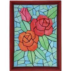 Mosaico de papel tridimensional (rosa),Mosaico de papel 3D,Arte,Rojo,Arte,Decoración de interiores,Flor,Decoración,Vidriera,Rosa