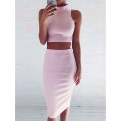 Choies Pink High Neck Tight Crop Top And Midi Pencil Skirt ($20) ❤ liked on Polyvore featuring skirts, pink, pink pencil skirt, pink skirt, mid-calf skirt, crop skirt and calf length skirts