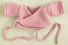 Ravelry: Ballerina wrap cardigan pattern by Julie Williams for her Little Cotton Animals knitted dolls - free download
