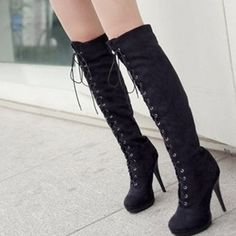 2012 Women's High-Heeled Shoes, Over the Knee Lace-up Boots