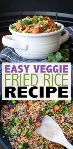 This easy veggie fried rice is simple and quick to throw together for a weeknight meal or side. Loaded with vegetables and flavor you're going to love it! Easy Vegan Dinner, Vegan Dinner Recipes, Vegan Dinners, Vegan Recipes Easy, Rice Recipes, Beef Recipes, Cooking Recipes, Asian Recipes, Vegetarian Meals