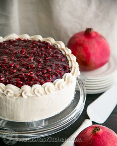 This Pomegranate Christmas Cake is fantastic top to bottom. A new favorite! Wait till you see what's inside! | NatashasKitchen.com #christmascake
