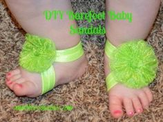 These Baby Barefoot Sandals are so adorable and very easy with my tutorial.  All girls want to accessorize, right!   www.amothersshadow.com