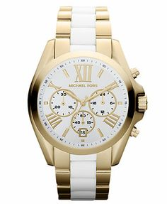 Michael Kors Watch, Women's Chronograph White Acetate and Gold-Tone Stainless Steel Bracelet 43mm MK5743