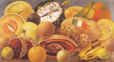 Frida Kahlo Fruit Paintings | Still Life with Parrot and Flag