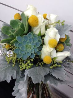 Wedding bouquet by thelimelily.com.au Succulents, roses, billy buttons, berries and dusty miller. White, yellow, grey and green.