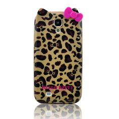 Stylish Cartoon Brown Leopard Cat TPU wth Bow Case Cover for Samsung Galaxy S4 SIV i9500