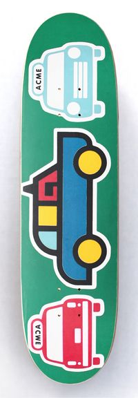 """1993  Acme Skateboards  Model: Taxi Car  Specs: ?""""x?"""", 7-ply maple w/plastic sheet bottom, asst color stains, wood by PS Stix.  Printing: Sublimated at PS Stix, Costa Mesa, CA.  NOTES: Moving away from racing stripes, rave art characters, and into overly simplistic industrial symbolism. For some reason Steve Rocco LOVED this graphic, and was one of his motivating factors in recruiting me, Ed Templeton and Mike Vallely over to World Industries to start a new company...(for more click on the…"""