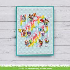 Lawn Fawn Intro: Tiny Birthday Friends, Confetti Stencils, Giant Happy Birthday and Giant Happy Birthday To You - Lawn Fawn Birthday Fun, Friend Birthday, Birthday Wishes, Birthday Celebration, Quick Cards, Cute Cards, Diy Cards, Lawn Fawn Blog, Beautiful Birthday Cards