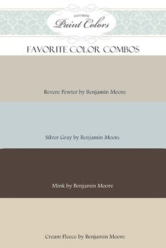 Color Combos with Revere Pewter by Benjamin Moore. Like Revere Pewter Wall Colors, House Colors, Paint Colours, Neutral Colors, Hallway Colors, Neutral Palette, Colour Schemes, Color Combinations, Colour Palettes