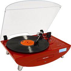 Sistema de Áudio com Toca-Discos CD Player e USB CTX Melody Vermelho