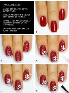 how to draw snowflake, manicure