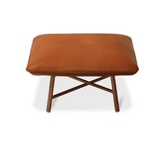 """Carre d'assise Hermes """"carre d'assise"""" low stool. Can be used for occasional seating or as an occasional table. Padded seat covered with taurillon Essentiel leather on the bottom. Wood frame. Solid Canaletto walnut base with brushed inox plated finishings.<br />L33.5"""" x H7.2"""" x W33.5"""""""