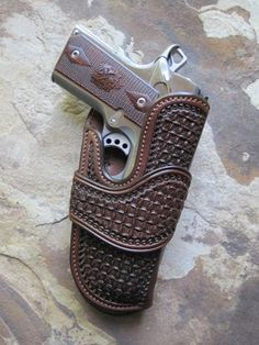 We are a FULL CUSTOM house. It is our policy to allow you to choose the features you find most desirable in any leather item you order. 1911 Leather Holster, 1911 Holster, Custom Leather Holsters, Pistol Holster, Leather Art, Leather Tooling, Rifles, Leather Knife Sheath Pattern, Western Holsters