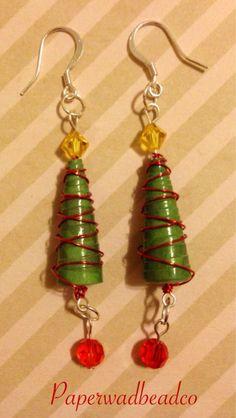 Christmas Tree Earrings, Holiday Earrings, Paper Bead Christmas Earrings by PaperwadBeadCompany on Etsy https://www.etsy.com/listing/210337531/christmas-tree-earrings-holiday-earrings