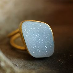 Ice Blue Agate Druzy Ring  Arctic Ice  Adjustable Geode by OhKuol