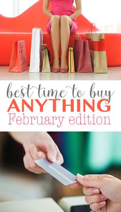 Best time to buy anything February edition. Ever wonder what you should be buying in February to get the best deals. Follow these tips for getting great deals on everything from furniture to produce.   What to buy in February http://eatdrinkandsavemoney.com/2017/02/01/what-to-buy-in-february/