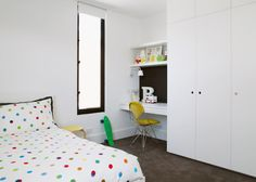 Built in cupboard Study alcove - Australian terrace house renovation by studio Sanders & King 9 Master Bedroom Layout, Bedroom Desk, Bedroom Layouts, Kids Bedroom, Wardrobe Doors, Bedroom Wardrobe, Built In Wardrobe, White Wardrobe, Alcove Desk