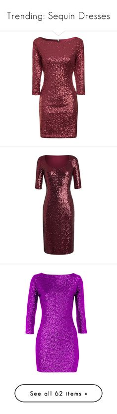 """""""Trending: Sequin Dresses"""" by mscody ❤ liked on Polyvore featuring dresses, short dresses, burgundy, clearance, cocktail party dress, midi cocktail dress, red bodycon dress, red evening dresses, holiday party dresses and wine"""
