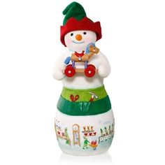 Hans K. Woodsworth Snowtop Lodge Porcelain Snowman Elf Ornament 2015 Hallmark >>> Remarkable product available now. : Ornaments Home Decor