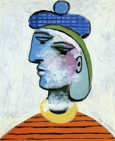 -Pablo Picasso-  'Marie-Thérèse au béret bleu'  (1937)