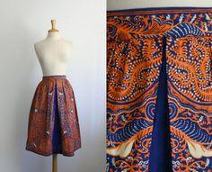 1970s cobalt blue and orange batik skirt