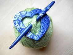 Shawl/Scarf Pin Polymer Clay Blue Floral Heart Shape by NKDesigns, $12.00