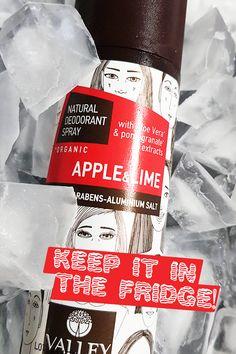 """Τώρα το καλοκαίρι διατήρησε το στο ψυγείο ή στην κατάψυξη και κράτα το μαζί σου όλη την ημέρα. Μελετημένα και για τέτοια χρήση τους θερμούς μήνες! Μοναδική αίσθηση δροσιάς και φρεσκάδας, απαράμιλλη προστασία! ◉Σε 12 υπέροχα """"γευστικά"""" αρώματα◉ Natural Deodorant, Organic, Apple, Garnet, Apple Fruit, Apples"""