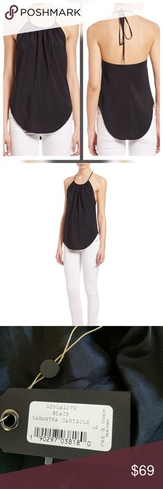 Rag & Bone Samantha Silk Camisole Black New with tags. Perfect condition. No trades.  True to size. Lined. rag & bone Tops