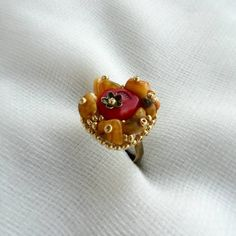 Genuine baltic amber ring, red coral ring, adjustable ring, beadwork, bead embroidery, bead embroidery designs Beaded Embroidery, Embroidery Designs, Baltic Amber Jewelry, Coral Ring, Amber Ring, Adjustable Ring, Red Coral, Beadwork, Brooch