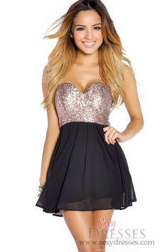 Copper Gold Sequins and Black Flowy Mini Dress. New years eve dress...yesss!