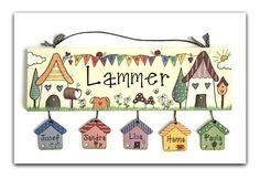 Türschild Namensschild  Häuser+Wimpel  in Pastell von byAnnoDomini auf DaWanda.com