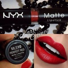 Who else thinks our NYX Matte Lipstick in Perfect Red lives up to its name? Swatch by Karen gomes Barros. Nyx Red Lipstick, Lipstick Shades, Matte Lipsticks, Lipstick Colors, Liquid Lipstick, Lip Colors, Lipstick Swatches, Neutrogena, Tom Ford Makeup