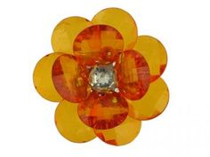 3 Large Crystal Orange Flowers by lizyjose for $1.69